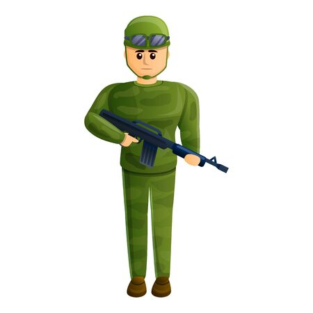 Combat soldier icon. Cartoon of combat soldier vector icon for web design isolated on white background 向量圖像