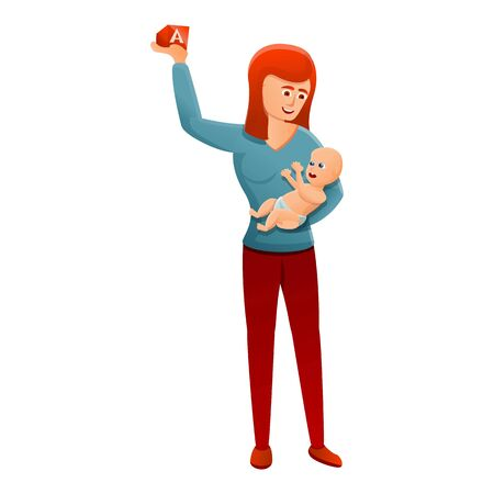 Mother with baby icon. Cartoon of mother with baby vector icon for web design isolated on white background 스톡 콘텐츠 - 133702061