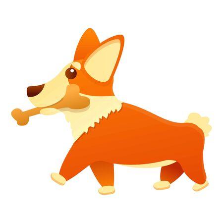 Corgi dog with bone icon. Cartoon of corgi dog with bone vector icon for web design isolated on white background 일러스트