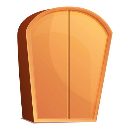 Wood wardrobe icon. Cartoon of wood wardrobe vector icon for web design isolated on white background