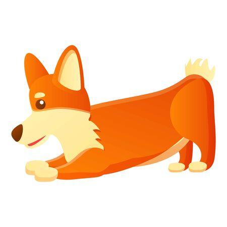 Corgi dog ready to play icon. Cartoon of corgi dog ready to play vector icon for web design isolated on white background