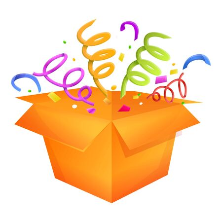 Birthday gift box icon. Cartoon of birthday gift box vector icon for web design isolated on white background