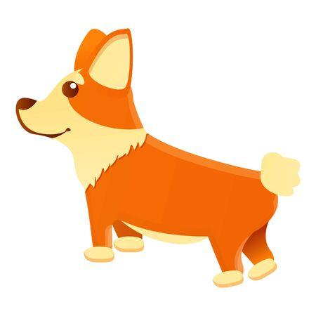 Corgi dog waiting icon. Cartoon of corgi dog waiting vector icon for web design isolated on white background