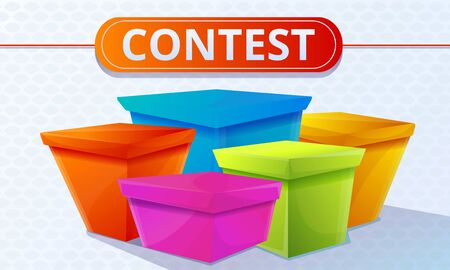 Contest colorful boxes concept banner. Cartoon illustration of contest colorful boxes vector concept banner for web design