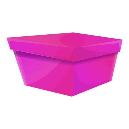 Violet gift box icon. Cartoon of violet gift box vector icon for web design isolated on white background 일러스트