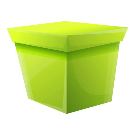 Green gift box icon. Cartoon of green gift box vector icon for web design isolated on white background 스톡 콘텐츠 - 133772871
