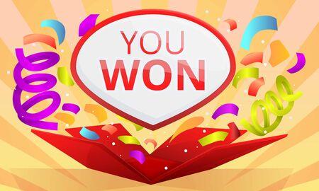 You won contest concept banner. Cartoon illustration of you won contest vector concept banner for web design