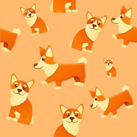 Funny corgi dog pattern. Cartoon illustration of funny corgi dog vector pattern for web design 일러스트