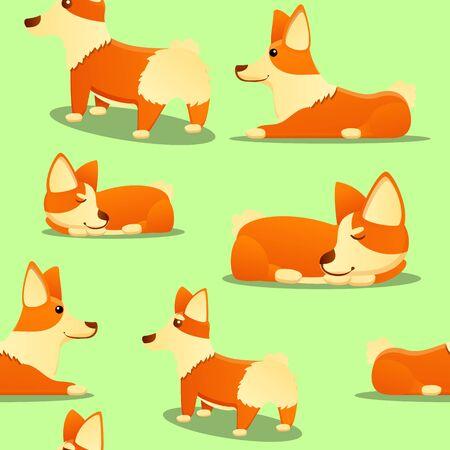Corgi dog pattern. Cartoon illustration of corgi dog vector pattern for web design 스톡 콘텐츠 - 133773017