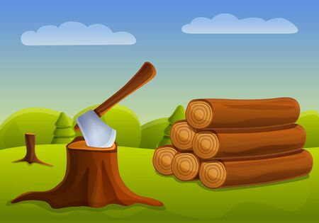 Cutting down forest concept banner. Cartoon illustration of cutting down forest vector concept banner for web design Ilustração