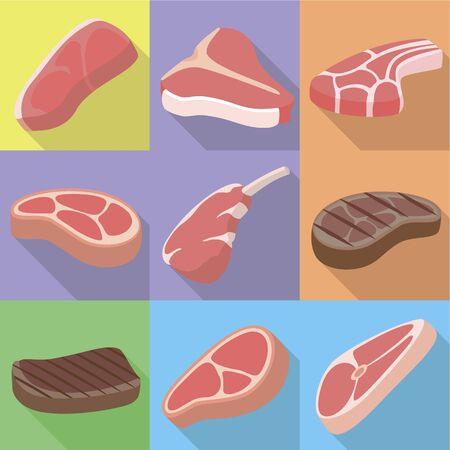 Organic steak icon set. Flat set of 9 organic steak icons for web design isolated on white background