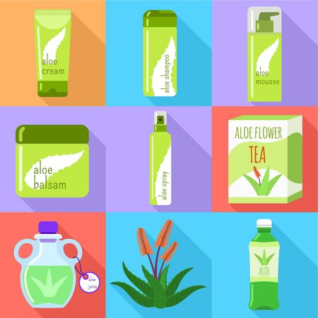 Aloe vera cream icon set. Flat set of 9 aloe vera cream icons for web design isolated on white background Stock Photo