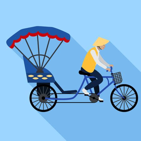 Vietnam tricycle taxi icon. Flat illustration of Vietnam tricycle taxi icon for web design