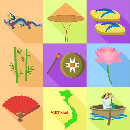 Vietnam holiday icon set. Flat set of 9 Vietnam holiday icons for web design isolated on white background 版權商用圖片