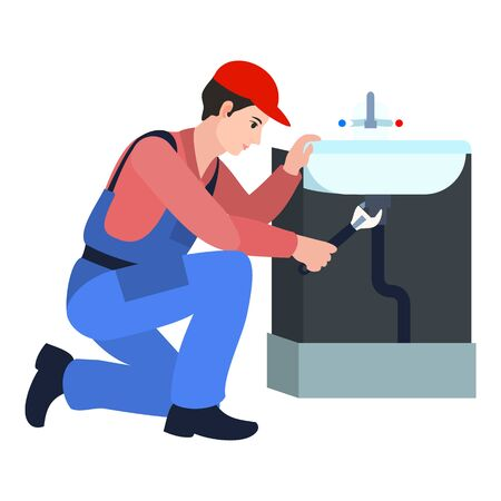 Plumbing man repair icon. Flat illustration of plumbing man repair icon for web design Stok Fotoğraf