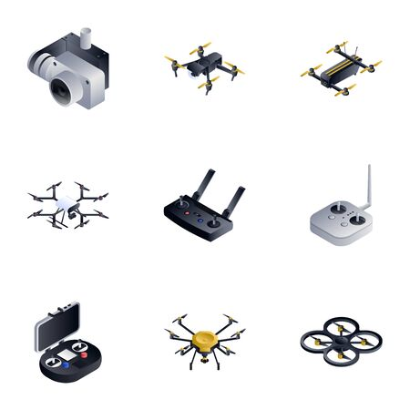 Drone toy icon set. Isometric set of 9 drone toy icons for web design isolated on white background