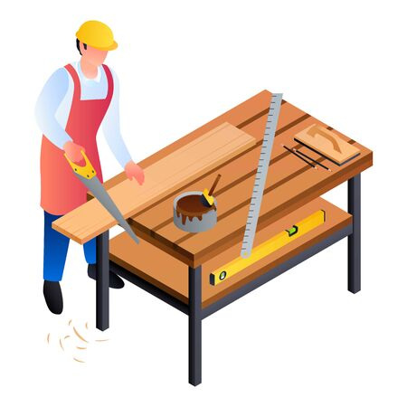 Carpenter worker icon. Isometric of carpenter worker icon for web design isolated on white background