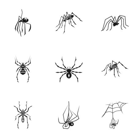 Spider bug icon set. Simple set of 9 spider bug icons for web design isolated on white background