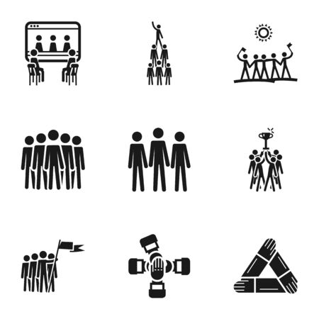 Seo teamwork icon set. Simple set of 9 seo teamwork icons for web design isolated on white background
