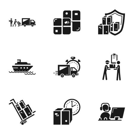Transport parcel delivery icon set. Simple set of 9 transport parcel delivery icons for web design isolated on white background Banque d'images