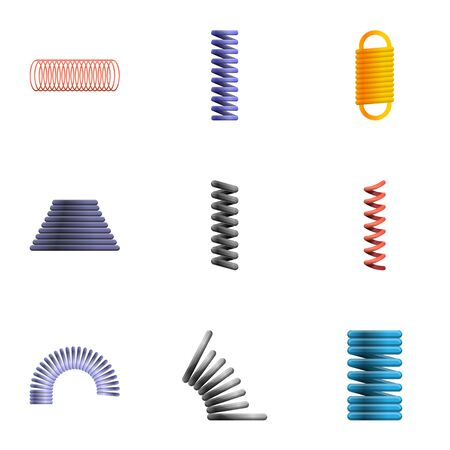 Wire coil icon set. Cartoon set of 9 wire coil icons for web design isolated on white background