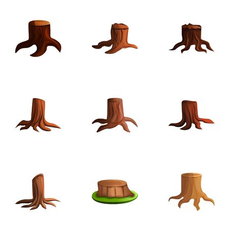Cutted tree stump icon set. Cartoon set of 9 cutted tree stump icons for web design isolated on white background