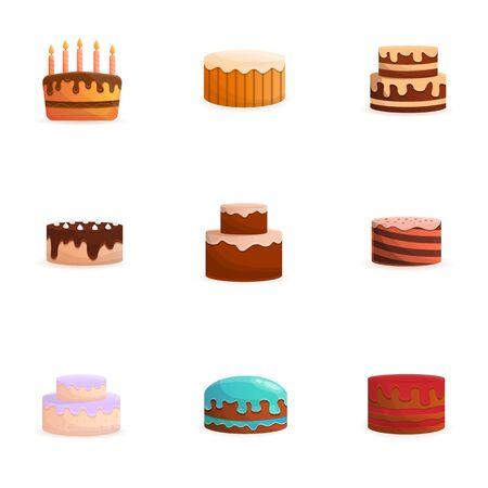 Tasty cream cake icon set. Cartoon set of 9 tasty cream cake icons for web design isolated on white background 版權商用圖片
