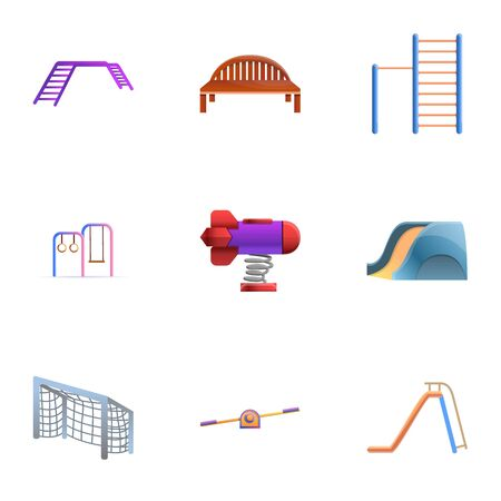 Park playground icon set. Cartoon set of 9 park playground icons for web design isolated on white background