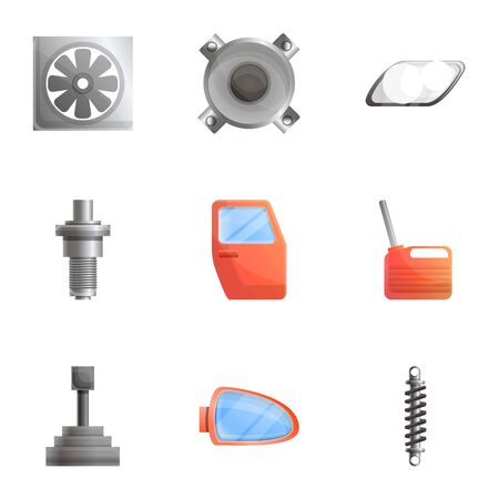Car body parts icon set. Cartoon set of 9 car body parts icons for web design isolated on white background Stok Fotoğraf