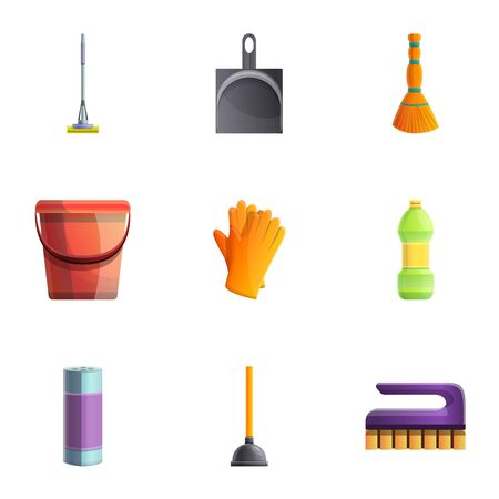 Household cleaner icon set. Cartoon set of 9 household cleaner icons for web design isolated on white background 写真素材