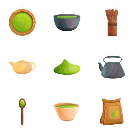 Asian matcha tea icon set. Cartoon set of 9 asian matcha tea icons for web design isolated on white background