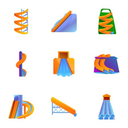 Aquapark funny slide icon set. Cartoon set of 9 aquapark funny slide icons for web design isolated on white background Stockfoto - 134168807