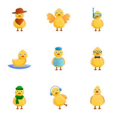 Yellow duck character icon set. Cartoon set of 9 yellow duck character icons for web design isolated on white background Stock fotó