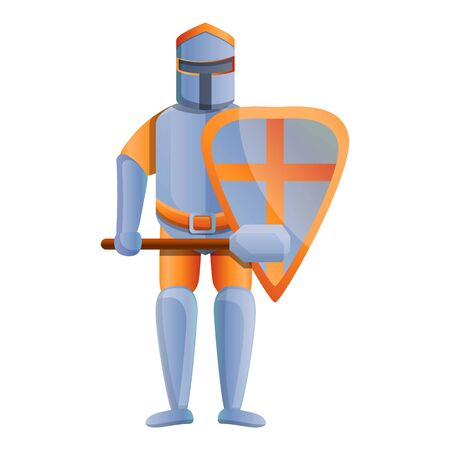 Knight orange crusader icon. Cartoon of knight orange crusader icon for web design isolated on white background Stock fotó - 134169088