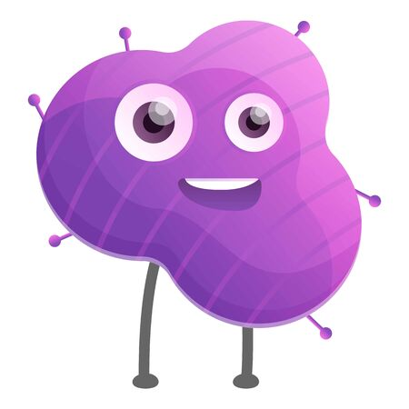 Happy violet bacteria icon. Cartoon of happy violet bacteria icon for web design isolated on white background 写真素材