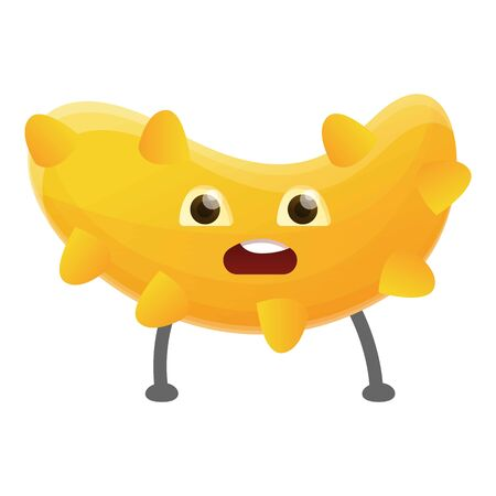 Yellow cute bacteria icon. Cartoon of yellow cute bacteria icon for web design isolated on white background