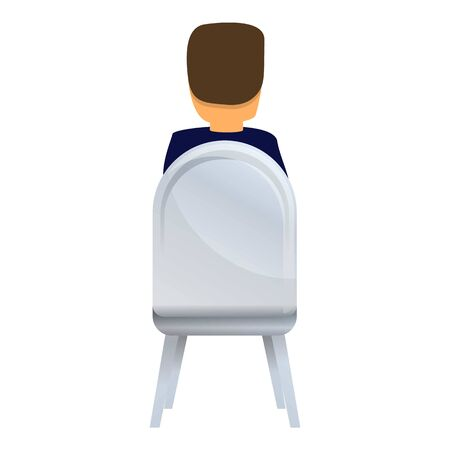 Back view man on chair icon. Cartoon of back view man on chair icon for web design isolated on white background