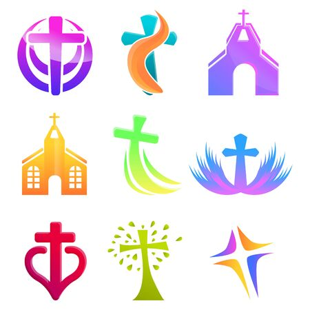 Church icons set. Cartoon set of church icons for web design Stok Fotoğraf