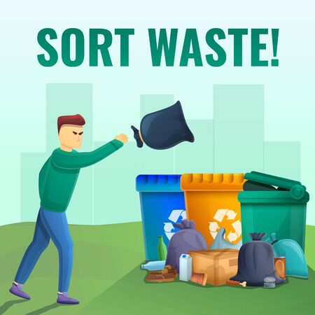 Garbage concept background. Cartoon illustration of garbage concept background for web design Banco de Imagens
