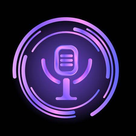 Neon studio bar microphone icon. Cartoon of neon studio bar microphone icon for web design isolated on white background