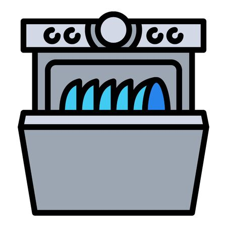 Home dishwasher icon. Outline home dishwasher vector icon for web design isolated on white background 일러스트