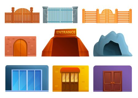 Entrance icons set. Cartoon set of entrance vector icons for web design
