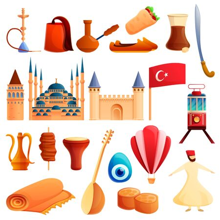 Turkey country icons set. Cartoon set of turkey country vector icons for web design