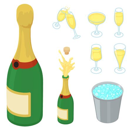 Champagne icons set. Isometric set of champagne vector icons for web design isolated on white background
