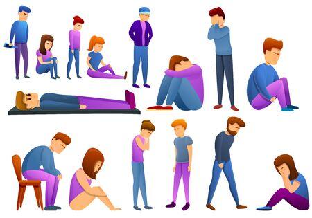 Depression icons set. Cartoon set of depression vector icons for web design