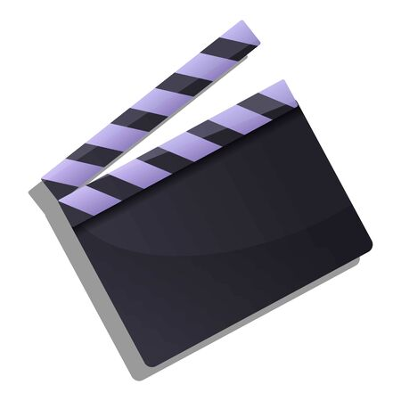 Film clapper icon. Cartoon of film clapper vector icon for web design isolated on white background