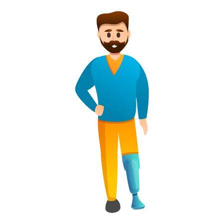 Man prosthesis leg icon. Cartoon of man prosthesis leg vector icon for web design isolated on white background