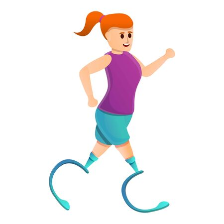 Girl running with artificial limbs icon. Cartoon of girl running with artificial limbs vector icon for web design isolated on white background 向量圖像