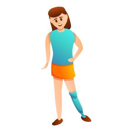 Girl artificial leg icon. Cartoon of girl artificial leg vector icon for web design isolated on white background