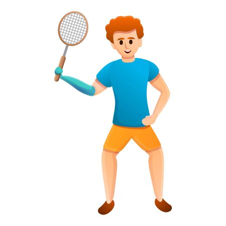 Boy prosthesis badminton icon. Cartoon of boy prosthesis badminton vector icon for web design isolated on white background